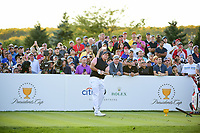 Phil Mickelson (USA) watches his tee shot on 18 during round 2 Four-Ball of the 2017 President's Cup, Liberty National Golf Club, Jersey City, New Jersey, USA. 9/29/2017.<br /> Picture: Golffile | Ken Murray<br /> <br /> All photo usage must carry mandatory copyright credit (&copy; Golffile | Ken Murray)