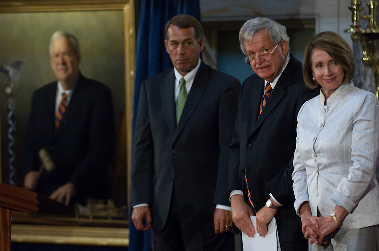WASHINGTON, DC - July 28: House Minority Leader John A. Boehner, R-Ohio, former House Speaker J. Dennis Hastert, R-Ill., and House Speaker Nancy Pelosi, D-Calif., during the unveiling ceremony of Hastert's portrait. Hastert was the longest serving Republican speaker, from 1999 to 2007. (Photo by Scott J. Ferrell/Congressional Quarterly)