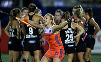 Netherlands players celebrate during the World Hockey League final between the Netherlands and New Zealand. North Harbour Hockey Stadium, Auckland, New Zealand. Sunday 26 November 2017. Photo:Simon Watts / www.bwmedia.co.nz