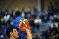HVHS' Jordan Hunt in action during the 2014 College Sport Wellington senior boys' Basketball Championship final between the St Patrick's College (Town) and Hutt Valley High School at Te Rauparaha Arena, Porirua, Wellington, New Zealand on Thursrday, 28 August 2014. Photo: Dave Lintott / lintottphoto.co.nz