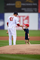 Salem Red Sox starting pitcher Jake Thompson (41) fist bumps with a young child during the first game of a doubleheader against the Potomac Nationals on June 11, 2018 at Haley Toyota Field in Salem, Virginia.  Potomac defeated Salem 9-4.  (Mike Janes/Four Seam Images)