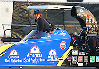 Feb 9, 2017; Pomona, CA, USA; NHRA top alcohol dragster driver Ashley Sanford during qualifying for the Winternationals at Auto Club Raceway at Pomona. Mandatory Credit: Mark J. Rebilas-USA TODAY Sports