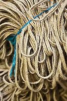 Europe/France/Aquitaine/64/Pyrénées-Atlantiques/Pays-Basque/Mauléon-Licharre: Fabrication des Espadrilles basques chez Don Quichosse  - La tresse qui sert à confectionner les semelles<br /> L'entreprise Don Quichosse c'est vu décerner le label  Entreprise du Partimoine Vivant: EPV. Ce label récompense des entreprises artisanales ou industrielles performantes qui participent au rayonnement économique et culturel de la France