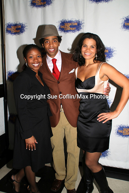 Cast of HOME - Kevin T. Carroll - Tracey Bonner & January LaVoy pose on opening night of the play HOME for Signature Theatre Company on December 7, 2008 at the after party at 44 1/2, New York, New York. (Photo by Sue Coflin/Max Photo)