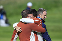 Rory McIlroy hugs Sergio Garcia (Team Europe) after he sinks his birdie putt to win the match on the 17th green during Saturday's Fourball Matches at the 2018 Ryder Cup 2018, Le Golf National, Ile-de-France, France. 29/09/2018.<br /> Picture Eoin Clarke / Golffile.ie<br /> <br /> All photo usage must carry mandatory copyright credit (&copy; Golffile | Eoin Clarke)