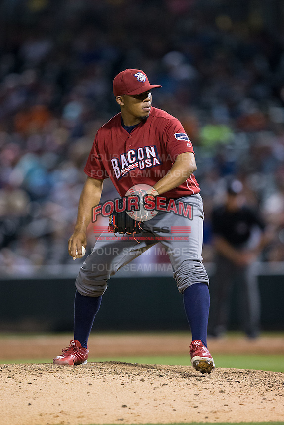 Lehigh Valley Iron Pigs relief pitcher Edubray Ramos (47) in action against the Charlotte Knights at BB&T BallPark on June 3, 2016 in Charlotte, North Carolina.  The Iron Pigs defeated the Knights 6-4.  (Brian Westerholt/Four Seam Images)
