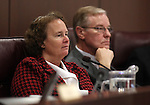Nevada Senate Democrats Sheila Leslie and David Parks listen to testimony in committee at the Legislature on Wednesday, May 18, 2011, in Carson City, Nev..Photo by Cathleen Allison