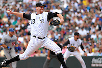 04 May 2008: Colorado Rockies starting pitcher Aaron Cook works against the Los Angeles Dodgers in the seventh inning on May 4, 2008 at Coors Field in Denver, Colorado. The Rockies defeated the Dodgers 7-2.