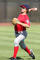 Spokane Indians pitcher Nicholas Martinez #12 before a game against the Salem-Keizer Volcanoes at Volcanoes Stadium on August 10, 2011 in Salem-Keizer,Oregon. Salem-Keizer defeated Spokane 7-6.(Larry Goren/Four Seam Images)