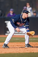 First baseman Kenny Swab #35 of the Virginia Cavaliers on defense versus the East Carolina Pirates at Clark-LeClair Stadium on February 20, 2010 in Greenville, North Carolina.   Photo by Brian Westerholt / Four Seam Images