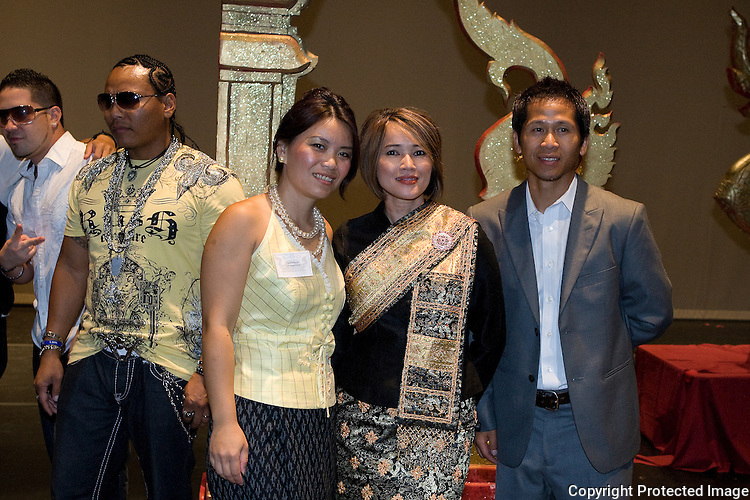 From Left to right are David Otero, Alex San Dinero, Lily Khoxayo, Ketsana Vilaylack, and Aloun Khotisene during the Lao Artists Festival in Elgin, IL, photographed on August 21, 2010.  (photo by Khampha Bouaphanh)