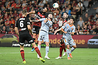 1st January 2020; Bankwest Stadium, Parramatta, New South Wales, Australia; Australian A League football, Western Sydney Wanderers versus Brisbane Roar; Tarek Elrich of Western Sydney Wanderers beats Roy O'Donovan of Brisbane Roar to a header in the box - Editorial Use