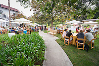 Occidental College families have brunch with President Jonathan Veitch on the day before commencement for the class of 2016, May 14, 2016 at the Collins House patio.<br /> (Photo by Marc Campos, Occidental College Photographer)
