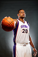 Dec. 16, 2011; Phoenix, AZ, USA; Phoenix Suns center Garret Siler poses for a portrait during media day at the US Airways Center. Mandatory Credit: Mark J. Rebilas-