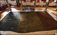 BNPS.co.uk (01202 558833)<br /> Pic: NorfolkMuseum/BNPS<br /> <br /> Back on show after 100 years...<br /> <br /> Staff at Norwich Museum reveal one of the earliest captured French Tricolour's from the Napoleonic Wars -  which was dramatically siezed from the French warship Le G&eacute;n&eacute;reux, on February 18, 1800.<br /> <br /> The huge Ensign of Le G&eacute;n&eacute;reux (it measures 16m x 8.3m &ndash; roughly the size of a tennis-court) is one of the most iconic objects connected to Norfolk&rsquo;s most famous son, Admiral Lord Nelson.<br /> <br /> Evidence suggests that it is, quite possibly, one of the earliest, if not the earliest, Tricolour in existence. The design of the French Tricolour as we know it today &ndash; with the order of colours from left to right running blue, white and red &ndash; was the new flag of the French Republic after the 1794 revolution.<br /> <br /> Ruth Battersby-Tooke, Curator of Costume and Textiles at Norwich Castle, said: &ldquo;The Ensign is remarkable for its survival in such a complete state, the oldest French Ensign in the UK and the one with the most stirring and thrilling history.&rdquo;<br /> <br /> It will form the centrepiece of this summer&rsquo;s Nelson &amp; Norfolk exhibition, at Norwich Castle Museum &amp; Art Gallery, which explores Nelson&rsquo;s relationship with his home county (on view from July 29 to October 1, 2017).<br />  <br /> ***These images are available for editorial purposes only in connection with the exhibition Nelson &amp; Norfolk at Norwich Castle Museum and Art Gallery***