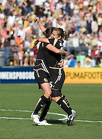 Tiffany Milbrett (right) hugs Brandi Chastain (left) after scoring the winning goal. FC Gold Pride defeated the Boston Breakers 2-1 at Buck Shaw Stadium in Santa Clara, California on April 5th, 2009. Photo by Kelley Cox /isiphotos.com
