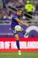 Orlando, Florida - Sunday, May 14, 2016: Orlando Pride forward Alex Morgan (13) plays a ball out wide during a National Women's Soccer League match between Orlando Pride and New York Flash at Camping World Stadium.