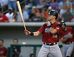 Sacramento River Aces&rsquo; Joe Panik hits against the Reno Aces at Greater Nevada Field in Reno, Nev., on Tuesday, July 26, 2016.  <br />Photo by Cathleen Allison