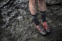 Loes Sels (BEL/Crelan Charles) post race muddy shoes.<br /> <br /> cx Telenet Superprestige Gieten 2017 (NED)
