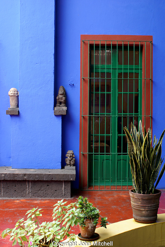 Courtyard at the Museo Frida Kahlo, also known as the Casa Azul, or Blue house, Coyoacan, Mexico City