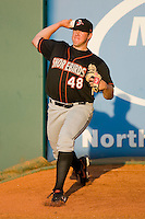 Matt Hobgood #48 of the Delmarva Shorebirds warms up in the bullpen prior to taking on the Greensboro Grasshoppers at NewBridge Bank Park April 15, 2010, in Greensboro, North Carolina.  Photo by Brian Westerholt / Four Seam Images
