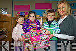 Children at Raheen Montessori Playgroup launching their 2010 Calendar to help raise funds for the continued activities in the playgroup. .L-R Dani Tagney Kissane, Eilish Mullane, Darren Lowe and Manager Lorena O'Connor