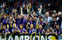 Shinobu Ohno, trophy, Japanese team.  Japan won the FIFA Women's World Cup on penalty kicks after tying the United States, 2-2, in extra time at FIFA Women's World Cup Stadium in Frankfurt Germany.