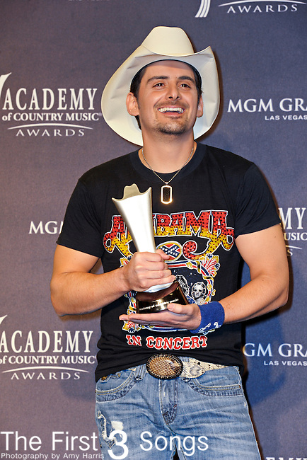 Brad Paisley with the award for Top Male Vocalist in the press room at the 46th Annual Academy of Country Music Awards in Las Vegas, Nevada on April 3, 2011.