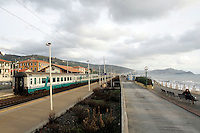 A train passes through the station of Lavagna, on the Ligurian Riviera.<br /> Un treno in transito alla stazione di Lavagna, lungo la Riviera Ligure<br /> UPDATE IMAGES PRESS/Riccardo De Luca