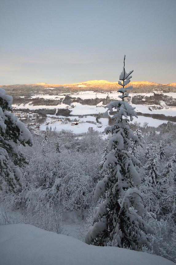 Village in winter,Gauldalen,Norway Landscape, landskap,