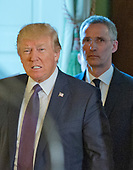 United States President Donald J. Trump and Secretary General Jens Stoltenberg of NATO arrive in the East Room of the White House to conduct a joint press conference in  Washington, DC on Wednesday, April 12, 2017.<br /> Credit: Ron Sachs / CNP