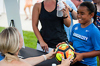 Kansas City, MO - Saturday July 22, 2017: Amy Rodriguez signs autographs for fans prior to a regular season National Women's Soccer League (NWSL) match between FC Kansas City and the North Carolina Courage at Children's Mercy Victory Field.