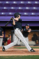 Left fielder Austin Black (15) of the Harvard Crimson bats in game two of a doubleheader against the Furman Paladins on Friday, March 16, 2018, at Latham Baseball Stadium on the Furman University campus in Greenville, South Carolina. Furman won, 7-6. (Tom Priddy/Four Seam Images)