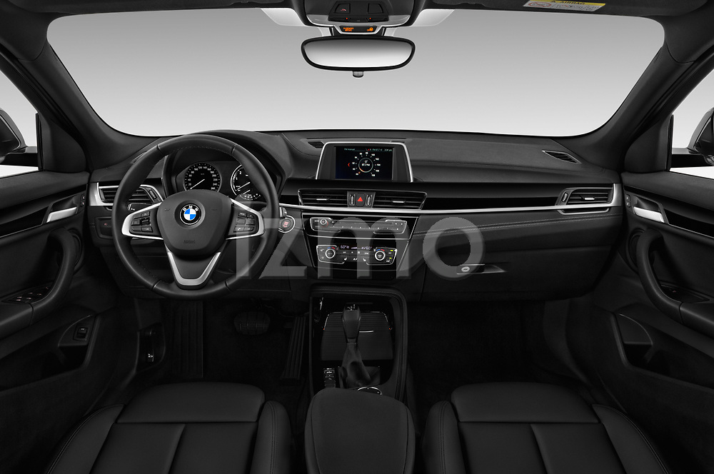 Stock photo of straight dashboard view of a 2018 BMW X2 Base 5 Door SUV