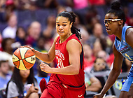Washington, DC - July 13, 2018: Washington Mystics guard Kristi Toliver (20) drives past Chicago Sky guard Diamond DeShields (1) during game between the Washington Mystics and Chicago Sky at the Capital One Arena in Washington, DC. The Mystics defeat the Sky 88-72 (Photo by Phil Peters/Media Images International)
