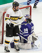 Seric Kapp (WIT - 15), Derek Mohney (Curry - 30) - The Wentworth Institute of Technology Leopards defeated the visiting Curry College Colonels 1-0 on Saturday, November 23, 2013, at Walter Brown Arena in Boston, Massachusetts.