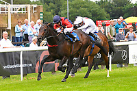 Winner of The Dee Wilks Against The Odds(red silks) Confined Novice Stakes (Div 1)Power of Darkness (red silks) ridden by Hayley Turner and trained by Marcus Tregoning  during Afternoon Racing at Salisbury Racecourse on 12th June 2018