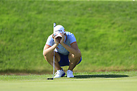 Carlota Ciganda (ESP) on the 18th green during Thursday's Round 1 of The Evian Championship 2018, held at the Evian Resort Golf Club, Evian-les-Bains, France. 13th September 2018.<br /> Picture: Eoin Clarke | Golffile<br /> <br /> <br /> All photos usage must carry mandatory copyright credit (&copy; Golffile | Eoin Clarke)