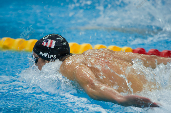 Michael Phelps (USA) swimming his leg of the Men's 4x100m Medley Relay. It was Phelp's 8th gold medal of the games, National Aquatics Center, Summer Olympics, Beijing, China, August 17, 2008