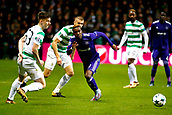 GLASGOW,SCOTLAND - DECEMBER 05 :Henry Onyekuru forward of RSC Anderlecht takes on Celtic's Tierney during the Champions League Group B match between Celtic FC and Rsc Anderlecht