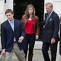 Baroness Thatcher death -.At her home today 15.4.13..Pic shows: Mark Thatcher's daughter -granddaughter  of Mrs T - Amanda Thatcher..her son Mark arrived with his second wife  Sarah and with his children.Amanda and Michael......Pic by Gavin Rodgers/Pixel 8000 Ltd