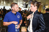 Tom Hardy and Johanna Konta<br /> on the trading floor for the BGC Charity Day 2016, Canary Wharf, London.<br /> <br /> <br /> &copy;Ash Knotek  D3152  12/09/2016