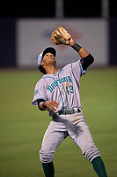Daytona Tortugas shortstop Jose Garcia (13) catches a popup during a Florida State League game against the Tampa Tarpons on May 18, 2019 at George M. Steinbrenner Field in Tampa, Florida.  Daytona defeated Tampa 7-6.  (Mike Janes/Four Seam Images)