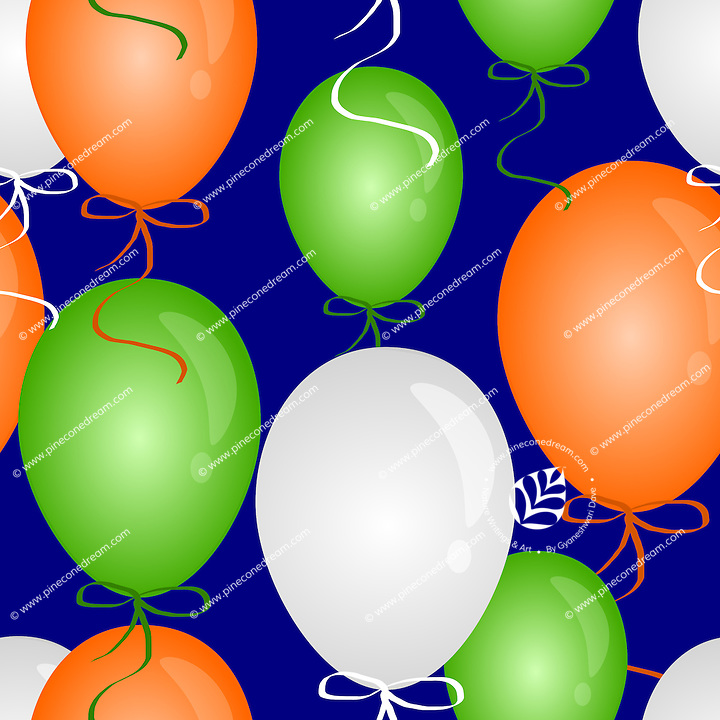 """Seamless pattern tile of balloons in India flag colors and blue background.<br /> <br /> Suitable for projects related to Indian Republic Day (26th January), Indian Independence Day (15th August) or other Indian patriotic themes.<br /> <br /> This Image is also available as a PNG file.<br /> <br /> WANT TO SEE HOW THIS WILL  LOOK WHEN ARRANGED AS A PATTERN?<br /> <br /> You can find the image of whole pattern put together in this gallery only.<br /> <br /> Tip: It should be the image next to this one, or, just search """"seamless+balloons+India""""!"""