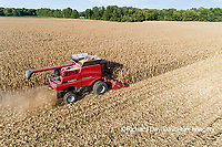 63801-12708 Harvesting corn in fall-aerial  Marion Co. IL