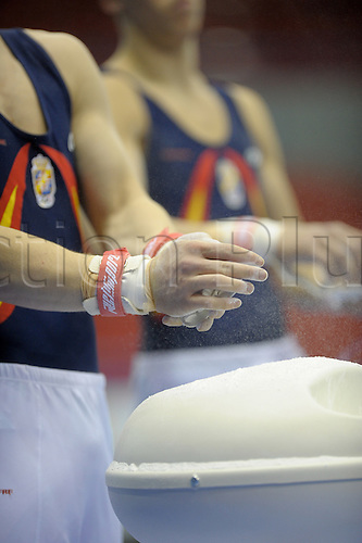 20.4.10 European Gymnastics Championships.Birmingham England.Junior Podium Training.Spanish team prepare to work on rings,..