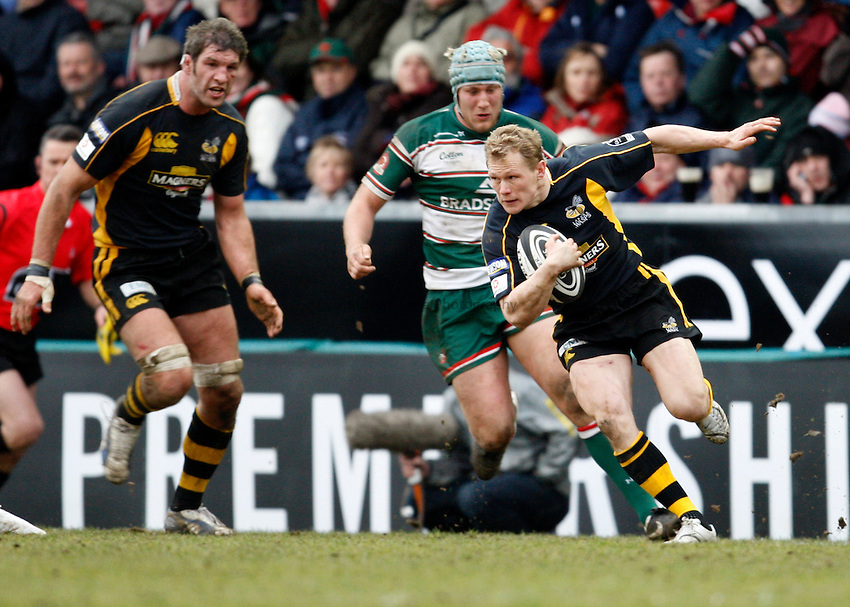 Photo: Richard Lane/Richard Lane Photography..Leicester Tigers v London Wasps. Guinness Premiership. 29/03/2008. Tigers' Josh Lewsey attacks.