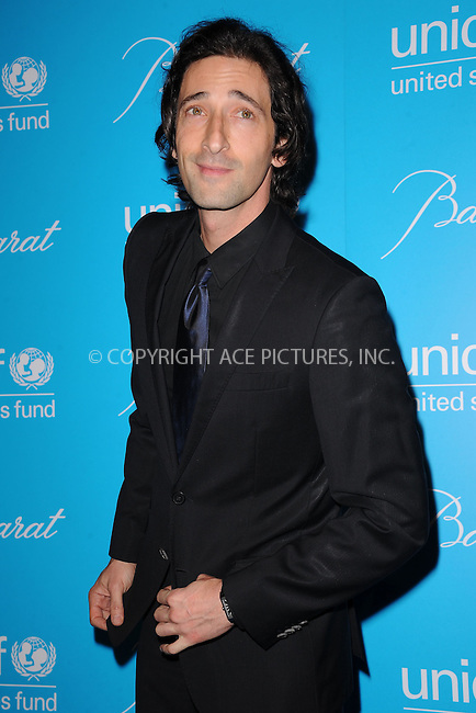 WWW.ACEPIXS.COM . . . . . .November 29, 2011, New York City.... Adrien Brody attends 2011 UNICEF Snowflake Ball at Cipriani 42nd Street on November 29, 2011 in New York City. ....Please byline: KRISTIN CALLAHAN - ACEPIXS.COM.. . . . . . ..Ace Pictures, Inc: ..tel: (212) 243 8787 or (646) 769 0430..e-mail: info@acepixs.com..web: http://www.acepixs.com .