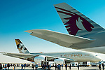 Airbus A380-800, manufactured by Airbus SAS and operated by Qatar Airways and Etihad Airways is displayed during the Dubai Air Show on 9 November 2015 at the outskirts of Dubai, United Arab States. Photo by Victor Fraile / Power Sport Images