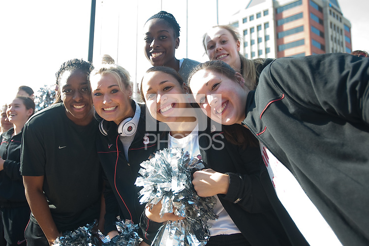 INDIANAPOLIS, IN - APRIL 3, 2011: Nnemkadi Ogwumike, Joslyn Tinkle, Grace Mashore and Sarah Boothe enjoy the pregame festivites before the NCAA Final Four against Texas A&M at Conseco Fieldhouse  in Indianapolis, IN on April 1, 2011.